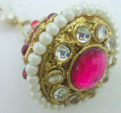 Hot Pink Kundan Pearl Cz Gold Tone Rajasthani Borla Matha Tikka Hair Jewelry Eid