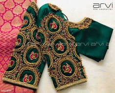 Stunning bottle green color designer blouse with swan design hand embroidery work on sleeves and neckline. 18 October 2019 Stunning bottle green color designer blouse with swan design hand embroidery work on sleeves and neckline. Wedding Saree Blouse Designs, Saree Blouse Neck Designs, Saree Blouse Patterns, Designer Blouse Patterns, Wedding Blouses, Kids Blouse Designs, Stylish Blouse Design, Hand Work Blouse Design, Diana
