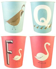 A-Z Typographic Paper Cups by Magpie