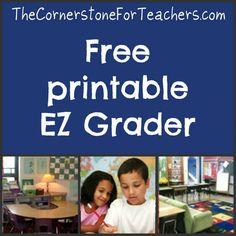 Printable classroom grading aid