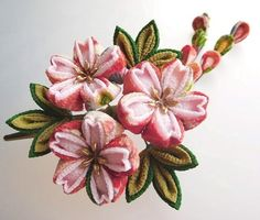カラフル花柄×薄桜色 桜のくちばしクリップ髪飾り #つまみ細工 卒業式袴に
