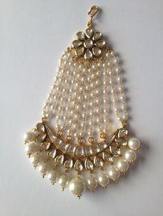 Silver Gold Jhoomar polki with Pearls India Jewelry, Pearl Jewelry, Antique Jewelry, Gold Jewelry, Jewelery, Pakistani Jewelry, Indian Wedding Jewelry, Bridal Jewelry, Saris