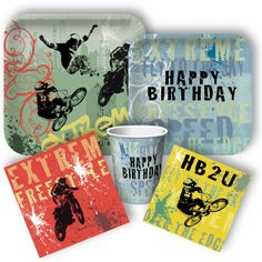 Exciting extreme / dirt bike party supplies from Motocross Birthday Party, Bike Birthday Parties, Motorcycle Birthday, Dirt Bike Birthday, Motorcycle Party, Sports Birthday, Birthday Fun, Birthday Party Themes, Birthday Ideas