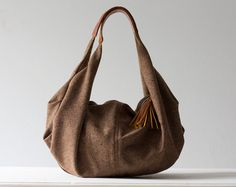 Kallia in brown wool and cognac leather by milloo on Etsy, $75.00