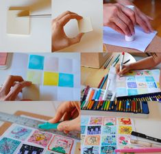 Final-stamps-mix [I'm always looking for perforating scissors - I still haven't found any - but this is a great idea to use a perforating wheel for sewing pattern making to perforate faux postage stamps - brilliant!]