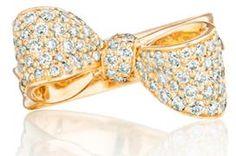 "Mimi So ""petite"" bow ring in gold and diamonds. Via Diamonds in the Library."