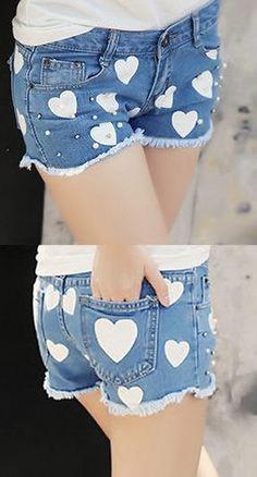 Heart Patchwork Denim Shorts ♥