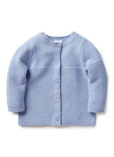 100% Cotton Cardigan. Fully fashioned, mix knit cardigan. Crew neck with button through front. Available in Das, petal and cloud