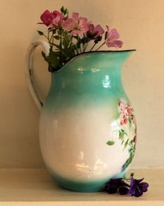 Vintage French Enamel Jug/Pitcher with a Geraniums Design #French