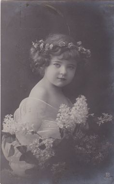 1913..Pretty Edwardian Girl with Flower Wreath in Hair..original vintage postcard...real photo...victorian..paper ephemera