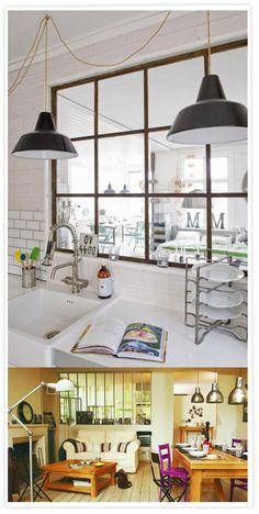 Indoor windows with an industrial style, Ventanas interiores estilo industrial, Fenêtres intérieures style atelier