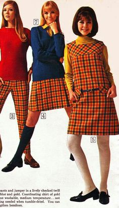 60s And 70s Fashion, Seventies Fashion, Plaid Fashion, Mod Fashion, Teen Fashion, Vintage Fashion, 1960s Dresses, 1960s Outfits, Modern Outfits