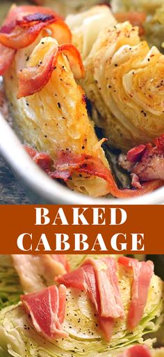 CABBAGE Baked Cabbage - The bacon adds flavor while the browned butter add's it's own unique taste. It's absolutely delicious!Baked Cabbage - The bacon adds flavor while the browned butter add's it's own unique taste. It's absolutely delicious! Side Dish Recipes, Vegetable Recipes, Easy Dinner Recipes, Holiday Recipes, Easy Recipes, Vegetable Sides, Vegetable Side Dishes, Cabbage And Bacon, Baked Cabbage Recipes