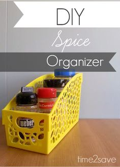 "DIY Spice Organizer (LOVE this for those Odd-Shaped ""misfit"" spices like Boullion jars, Taco Seasoning packets, Olive Oil and those teeny tiny little Cayenne Pepper containers!)"