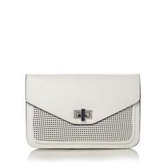 The perforated front panel gives this white clutch bag a modern edge. The foldover design closes with an enamel twist lock, and black trim adds graphic contrast. Team with tailored white for a flawless on-trend look that's perfect for a summer evening out