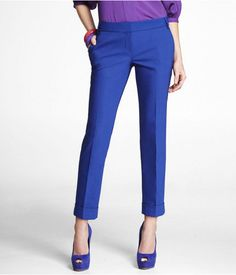 Express Womens Ultimate Double Weave Editor Ankle Pant Fantasia Blue,