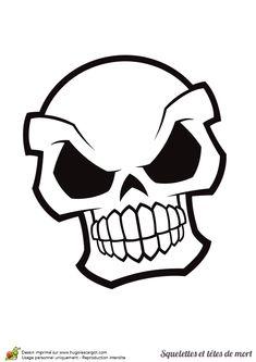 Dessin à colorier d'une tête de mort avec un air agressif