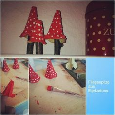Fliegenpilze aus Eierkarton – HANDMADE Kultur – Keep up with the times. Easy Crafts To Sell, Easy Fall Crafts, Fall Crafts For Kids, Craft Activities For Kids, Diy For Kids, Diy And Crafts, Paper Crafts, Maila, Creative Kids