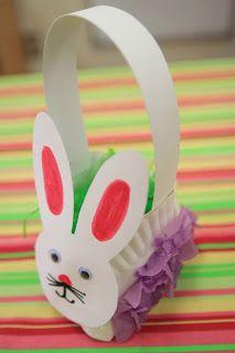 Paper plate easter bunny basket craft for kids! Bunny Crafts, Paper Crafts For Kids, Toddler Crafts, Preschool Crafts, Kindergarten Literacy, Literacy Centers, Paper Plate Basket, Easter Art, Easter Bunny
