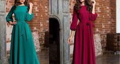 Elegant Maxi Evening dress with pockets, belt and ¾ Sleeves Girls Maxi Dresses, Evening Dresses, Designer Dresses, Colorful, Belt, Pockets, Elegant, Sleeves, Style