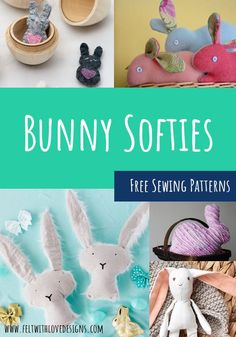 Are you looking for a bunny softie pattern to sew? This huge list has Bunny Softie Sewing Patterns including over 50 felt bunny patterns, Easter Bunnies to sew, and a few other bunny sewing patterns. There is even an adorable bunny costume! Animal Sewing Patterns, Stuffed Animal Patterns, Sewing Patterns Free, Felt Patterns, Stuffed Animals, Cute Easter Bunny, Felt Bunny, Diy Handmade Toys, Sewing Hacks