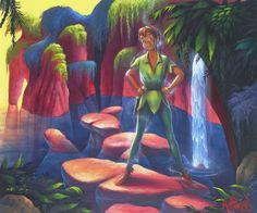 """Pan's Kingdom"" by James C. Mulligan - Original Acrylic on Board, 20 x 24.  #Disney #DisneyFineArt #PeterPan #JamesCMulligan"