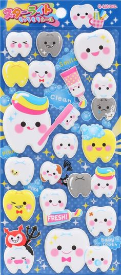 cute funny tooth teeth puffy 3D sponge stickers from Japan 1