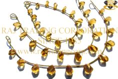 Citrine Faceted Twisted Drops (Side Drill) (Quality AA+) Shape: Drops Twisted Faceted Length: 18 cm Weight Approx: 7 to 9 Grms. Size Approx: 5x8.5 to 6.5x12 mm Price $37.40 Each Strand