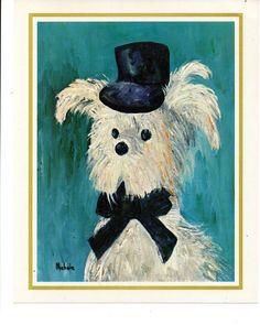 Vintage POODLE PUPPY TOP HAT BOW TIE  Print 8 x 10 Signed Michele