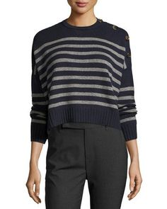 W0EA1 Brunello Cucinelli Striped Cashmere Cropped Sweater, Navy/Charcoal