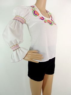 Beautiful 70s Folk Blouse With Colourful by HuzzarHuzzar on Etsy