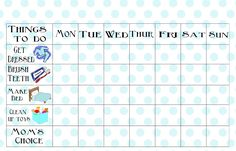 This chore chart is designed to be printed, placed in a page protector (or laminated) and filled and checked off with dry erase markers so you can re-use it over and over. Description from tipjunkie.com. I searched for this on bing.com/images