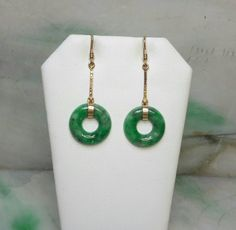Jadeite jade earrings, 14K natural color jade earrings, green jade earrings, silver jade earrings Jade Earrings, Dangle Earrings, Jade Green, Earring Set, Dangles, Wedding Rings, Gold, Jewelry, Natural