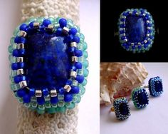 Bague lapis-lazuli perles brodées vert et bleu