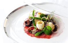 lamb carpaccio with shallot mousse, pickled walnut and quails eggs - Robert Thompson