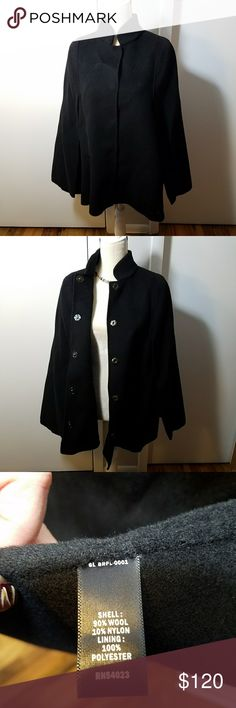 Banana Republic Monogram Black Capelet Poncho New with tag! Excellent condition. Wool nylon blend, polyester lining. Black color. No sleeves, openings for arms, side panels covers the arms. Measurements in picture. Oversized, I fit in it as a size L. Snaps up the front. Pockets on both sides but stitched shut, can be opened for use. Banana Republic Jackets & Coats Capes