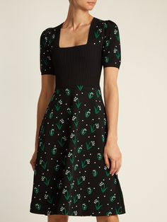 Click here to buy Valentino Square-neck snowdrop-jacquard dress at MATCHESFASHION.COM