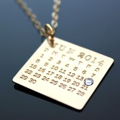 14K Gold Mark Your Calendar Necklace with Swarovski Crystal - Personalized Calendar Necklace - hand stamped and personalized - save the date