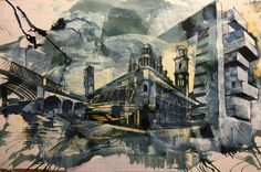 Manchester composition, of the arches, palace theatre and Manchester's courts. Mix media on paper using Quink and bleach. By Tom Quigley