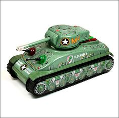 Taiyo Battery Operated 'M4 Combat Tank'. Vintage Tin Tinplate Toy. Made In Japan. c. 1960's. Pic. 2.