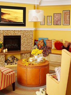 Not my decor style -I like the design of the hearth-- raised up w/ columns and a nook below.