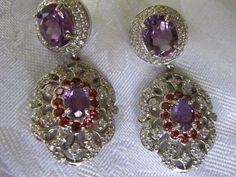 69.85 CT. GEMS+SETTING Natural Amethyst Garnet WGP/ Sterling 925 Silver Earrings #Handmade
