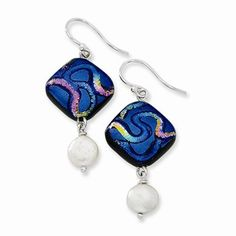 Sterling Silver Blue Dichroic Glass w/ Freshwater CulturedPearl Dangle Earrings