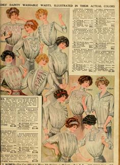 Dainty washable waists (blouses) from 1912 catalog