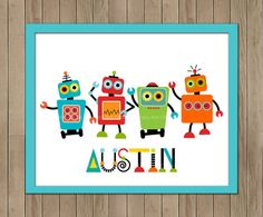 Printable Robot Wall Art DIY Personalized by TracyAnnPrintables