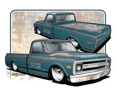 1969 Chevy C10 LWB - Vehicle Illustration by SIN Customs artist Ryan Curtis