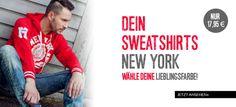 Tolle Sweatshirts New York bei Bolf.de Sweatshirt: https://www.bolf.de/sweatshirt-abound-ns01-rot/a-7702/ Jeans: https://www.bolf.de/jeans-antony-morato-k601/a-8523/
