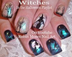 """halloween nails"" ""halloween nail art"" ""witch nails"" ""witch clip art"" ""nail art"" ""halloween ideas"""
