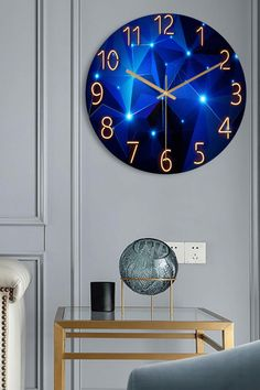 A beautiful geometric design in a captivating deep blue finish and striking gold accents, our Geometric Wall Clock by Modern Visions is a surefire way to add uniqueness and character to an otherwise boring home. Pinterest Room Decor, Antique Clocks, Geometric Wall, Quartz Clock Mechanism, Mural Art, White Aesthetic, Household Items, Gold Accents, Deep Blue