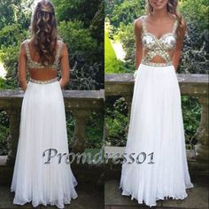 Unique design white chiffon long prom dress with sequins top, ball gown, prom dresses 2016 #coniefox #2016prom